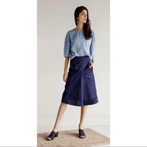 Christophe LEMAIRE Blue Flared A-line Skirt